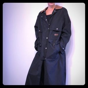 Black Ralph Lauren Duster Trench Coat w leather